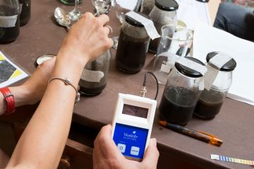 Testing pH-value of soil samples